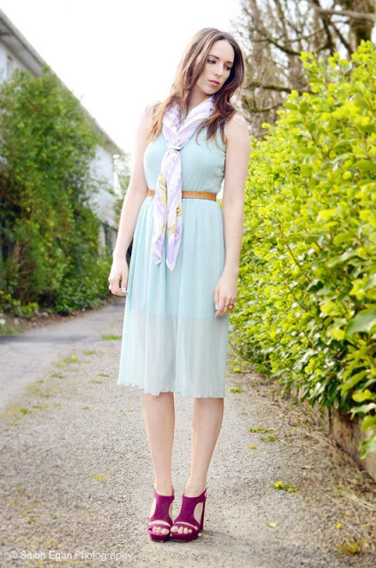 Outfit of the Day: InloveWithFashion Pastel Dress, River Island Print Scarf, and Penneys Heels
