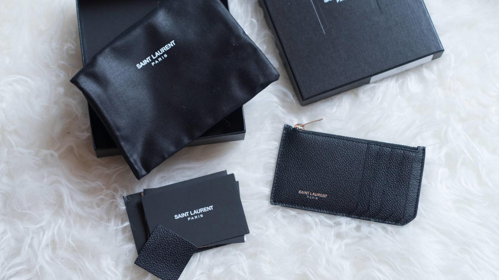 Saint Laurent grained leather zip cardholder, luisaviaroma
